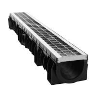 Rigola Skip PE-HD cu gratar fagure si barete, B 125, 1000 x 158 x 120 mm