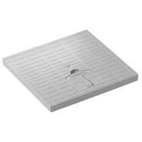 Capac camin monolitic cu maner, A15, polipropilena, gri, 200 x 200 mm