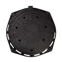 Capac canalizare, fonta + rama D 400 mm, FCD805, pentru zone trafic greu