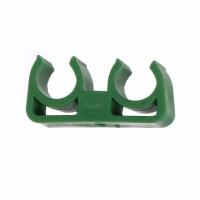 Clema suport dubla PPR 20 mm verde