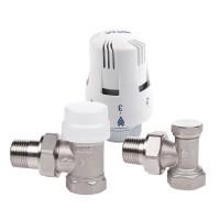 "Kit robinet termostatic coltar, pentru calorifer, complet nichelat, Valvex Thermo, D 1/2"""