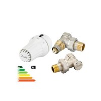 Robinet termostatic colt pentru radiator, cu presetare RA-N 15 + senzor termostatic RAE 5054 + robinet de blocare RLV-S 15, Danfoss