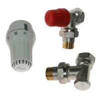Robinet termostatic colt pentru calorifer, cu presetare RA-N 15 + senzor termostatic RAE 5054 + robinet de blocare RLV-S 15, Danfoss
