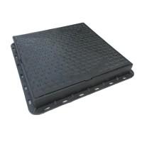 Capac negru patrat necarosabil A15, 680 x 680 x 80 mm, cu inchidere