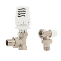 Kit robinet termostatic colt pentru radiator, 1100 + cap termostatic 774 + robinet retur 805, ICMA, D 1/2""