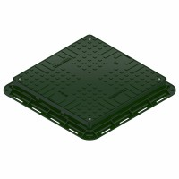 Capac PP, verde, necarosabil A15, 700 x 700 x 80 mm, 4 inchideri