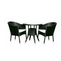Set masa rotunda, cu 2 scaune cu perne, pentru gradina WS1228, din metal cu ratan sintetic