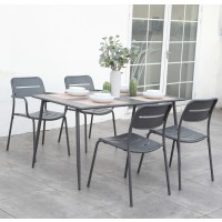 Set masa dreptunghiulara, cu 4 scaune, pentru gradina 2F 24771, din metal