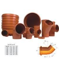 Cot PVC cu inel, D 250 mm, 45 grade