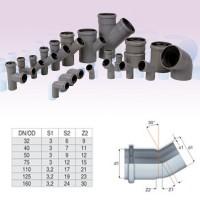 Cot PP HTB, pentru scurgere, D 50 mm, 30  grade