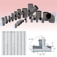 Ramificatie PP HTEA, pentru scurgere, D 50 x 50 mm, 87 grade