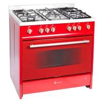 Aragaz pe gaz Studio Casa Monza 9060, 5 arzatoare, aprindere electrica, grill, rotisor, latime 90 cm, rosu