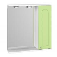 Dulap baie cu oglinda, iluminare si polita, 1 usa, dreapta, Martplast, vernil, 63 x 14 x 68 cm