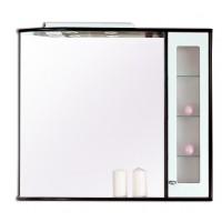 Dulap baie cu oglinda, iluminare si polita, 1 usa, dreapta, Arthema Primavera DX 704/ PD - WA1, alb si wenge, 84 x 16 x 87.5 cm