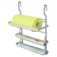 Suport bucatarie, pentru prosop hartie si folie stretch sau aluminiu, triplu etajat, 4003, metal, 31.5 x 18 x 40 cm
