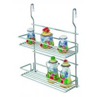 Suport bucatarie, pentru recipiente condimente, 4012, 2 etajere, metal, 32 x 13.5 x 40 cm