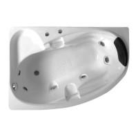 Cada baie cu hidromasaj asimetrica, pe colt, montaj stanga, West Iulia, masca frontala inclusa, 150 x 100 cm