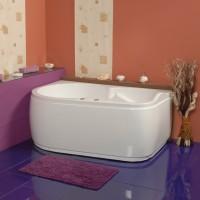 Cada baie asimetrica, varianta montaj pe stanga, Doride 18, masca si suport incluse, acril, 180 x 100 cm