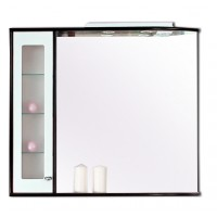 Dulap baie cu oglinda, iluminare si polita, 1 usa, stanga, Arhema Primavera 704/P - WA1, alb si wenge, 84 x 16 x 87.5 cm