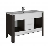 Masca baie pentru lavoar, Martplast Space, cu sertar si usi, alb / wenge, 120 x 52 x 85 cm