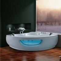 Cada baie cu hidromasaj simetrica, pe colt, Korra K-1065, acril, masca inclusa, 155 x 155 cm