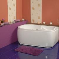 Cada baie asimetrica, varianta montaj pe stanga, Doride 15, masca si suport incluse, acril, 150 x 100 cm