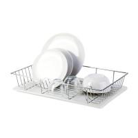 Suport bucatarie, pentru vase, Tekno-tel, KB001, cromat, 47 x 32 x 10 cm + tava din plastic