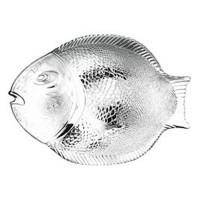 Platou Marine, forma de peste, sticla, transparent, 35.5 x 25.4 cm