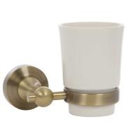 Pahar baie pentru igiena personala, cu suport, Kadda Retro 89784, sticla, prindere pe perete, mat, finisaj auriu antichizat