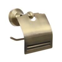 Suport pentru hartie igienica, Kadda Retro 89786, cu clapeta, auriu antichizat