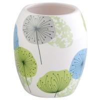 Pahar baie pentru igiena personala, Volare AWD02190715, ceramica, model floral, alb / albastru / verde, 11 x 8 x 8 cm