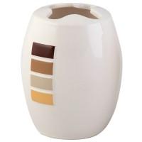 Suport periute dinti, Strip AWD02190718, ceramica, alb / maro, 11 x 8 x 8 cm