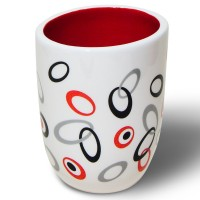 Pahar baie pentru igiena personala, Picco 2190513, ceramica, alb / rosu / negru, 11 x 8 x 8 cm