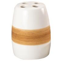 Suport periute dinti, Sabbia AWD02190329, ceramica, alb / bej, 8 x 6 x 8 cm