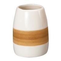 Pahar baie pentru igiena personala, Sabbia AWD02190330, ceramica, alb / bej, 8 x 6 x 8 cm