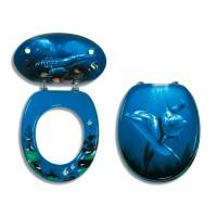 Capac WC din MDF, Ferro Delfin Nova, model delfin , inchidere standard, 375 x 455 mm