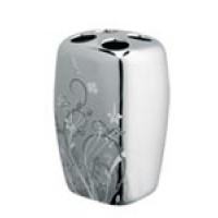 Suport periute dinti, Bisk Blossom 05007, ceramica, argintiu