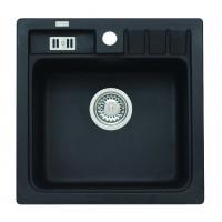 Chiuveta bucatarie compozit granit Alveus Niagara 20 A91 1102091 neagra patrata 46.5 x 46.5 cm
