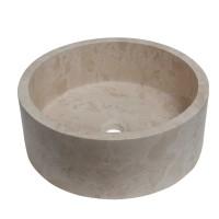 Lavoar travertin, rotund, pe blat, S05, bej, 42 x 15.5 cm