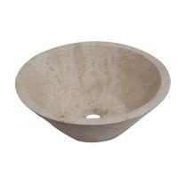 Lavoar travertin, rotund, pe blat, bej, S01, 41 x 15.5  cm