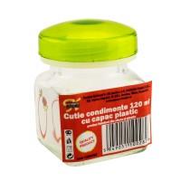 Recipient pentru condimente + capac, sticla + plastic, 5.5 x 5.5 cm, 120 ml