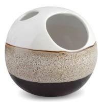 Suport periute dinti Mocca AWD02190981, ceramica, alb / maro / negru, 12.5 x 13 x 13 cm