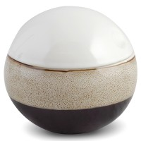 Suport dischete demachiante, Mocca AWD02190983, ceramica, alb / maro / negru, 14.5 x 12 x 12.5 cm