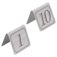 Tablite pentru masa 918, cu numere 1 - 10, inox, + negru, 9 x 5.5 cm
