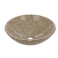 Lavoar marmura, rotund, pe blat, YF058, galben granit