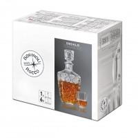 Pahare pentru lichior, Dedalo, din sticla transparenta, set 6 pahare 85 ml + 1 decantor 790 ml
