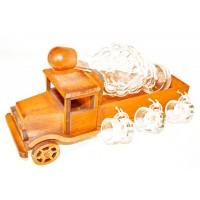 Suport pahare + sticla, 3491, din lemn, 36 x 20 x 19 cm
