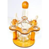 Suport pahare + sticla, 3458, din lemn, 21 x 21 x 28 cm