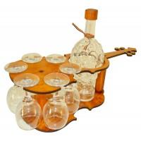 Suport pahare + sticla, 3503, din lemn, 47 x 23 x 15 cm