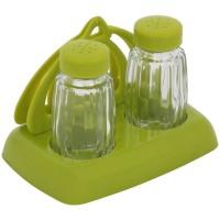 Set 2 recipiente pentru sare si piper + suport servetele AB44, sticla + PVC, 13 x 9 x 9.5 cm, diverse culori